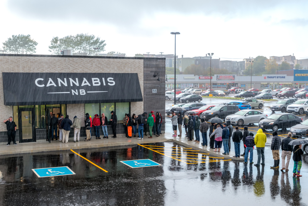 People waiting to purchase cannabis legally from a Cannabis NB store in New Brunswick on the first day of legalization in Canada |   Shutterstock