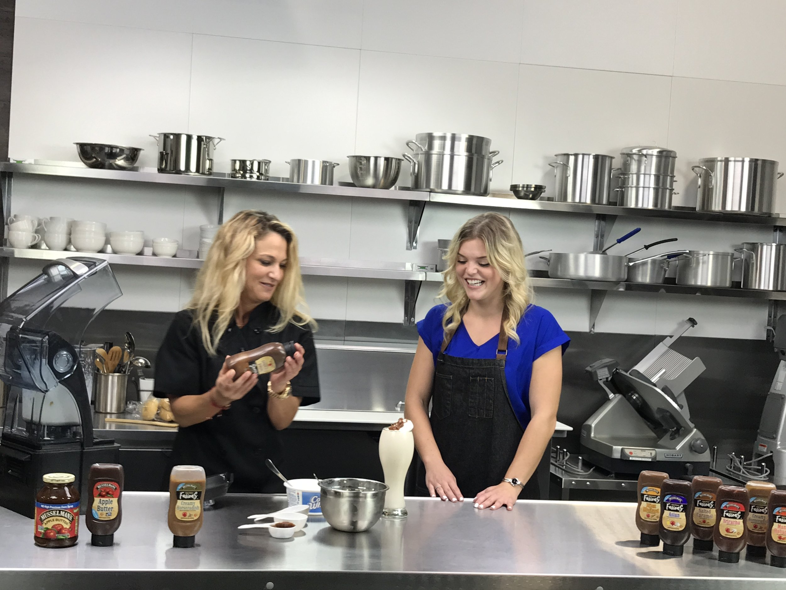 Chef Andi and Foodable Host Layla using the Musselman's Apple Butter Salted Caramel Fusion |   Foodable Network