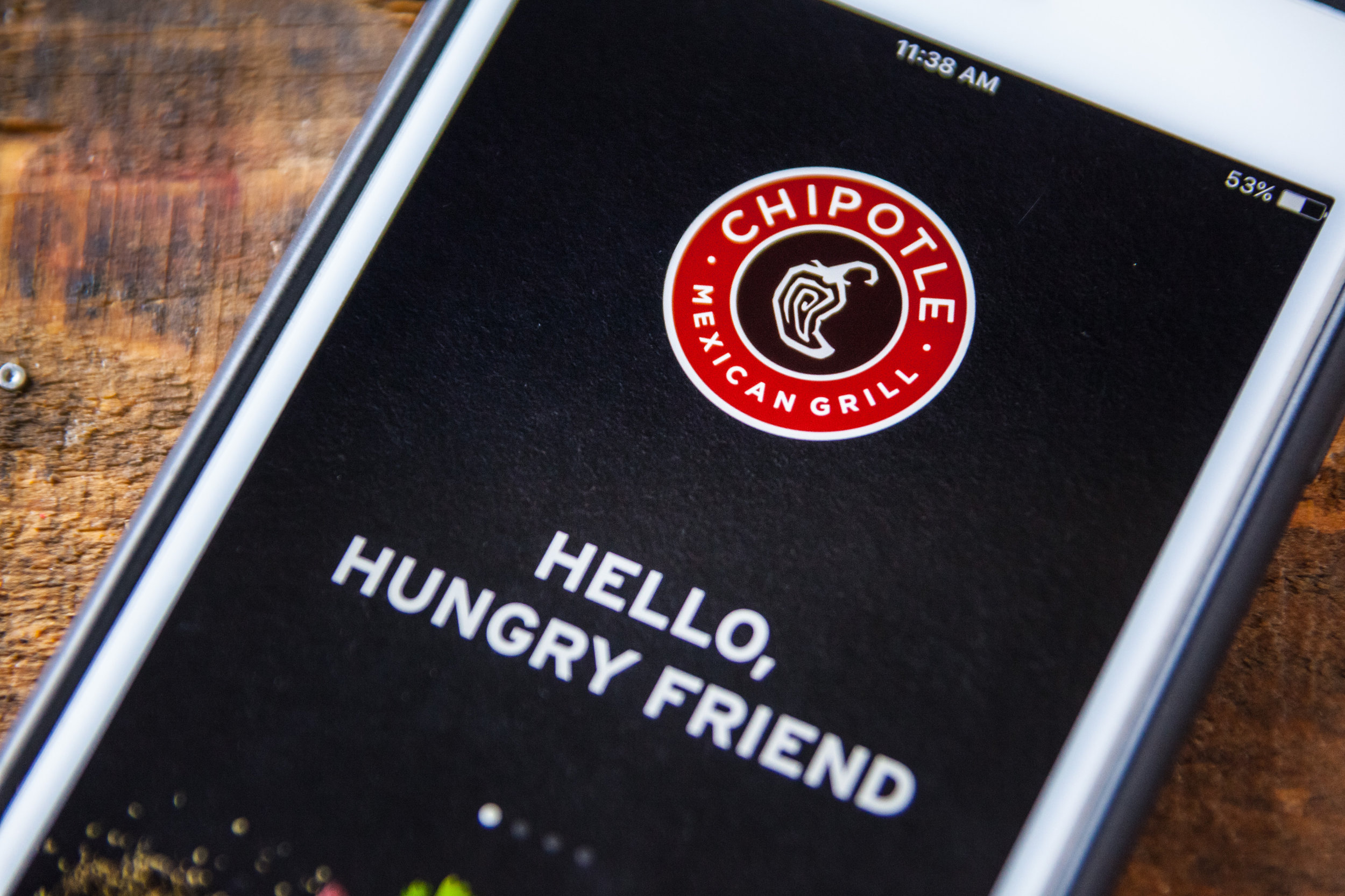 Chipotle App Welcoem Screen | Shutterstock