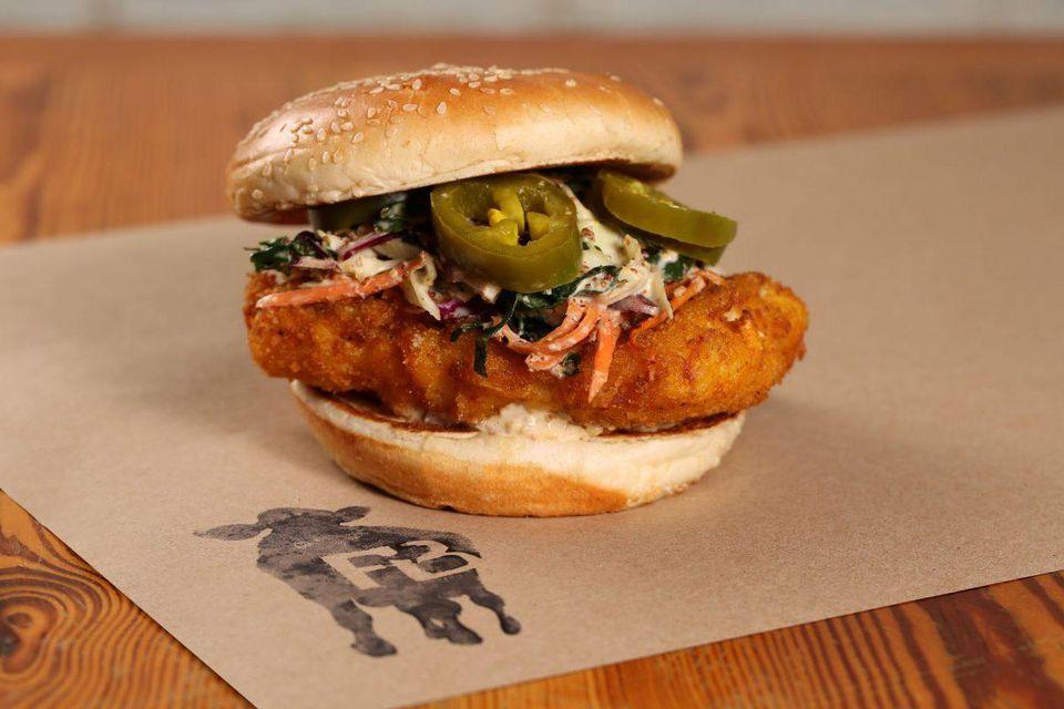 Farm Burger Blue Catfish sandwich     Sara Hanna Photography