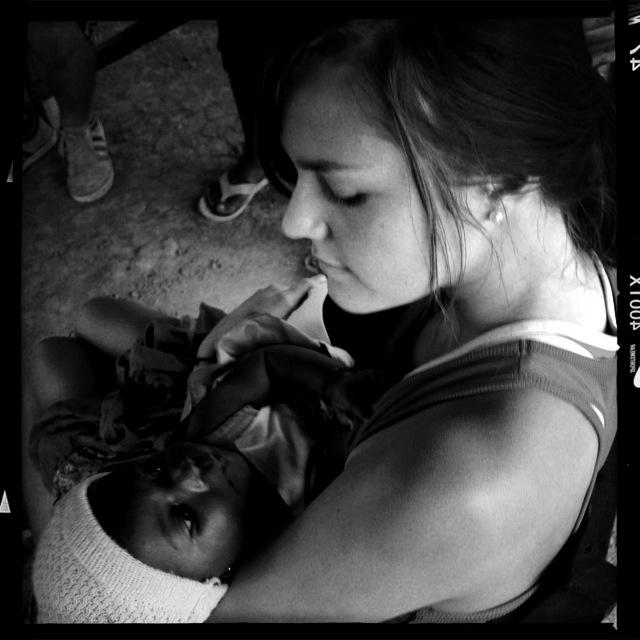 Brettnay loving one of the babies of Kotokata.