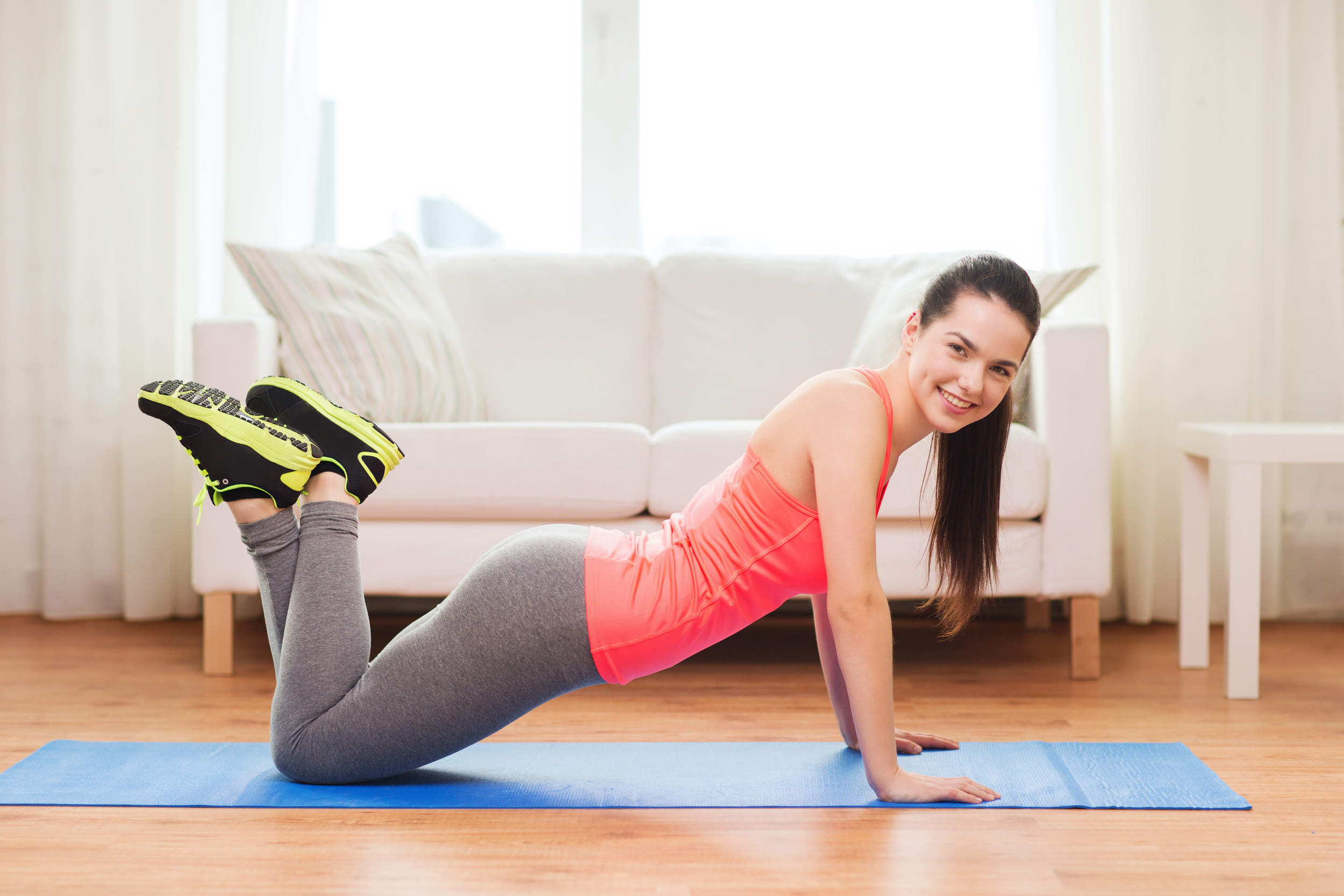 Push-ups on your knees or standing, pushing up from a wall, are a great place to start.