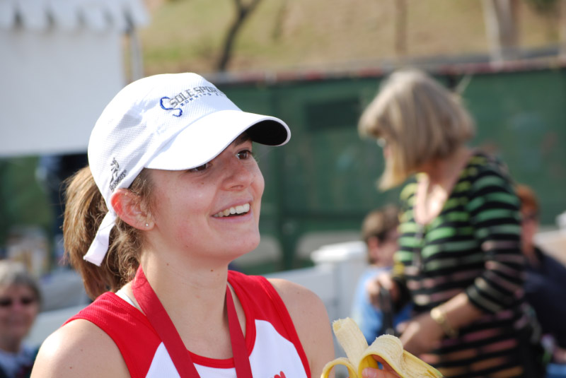 Anna at her first marathon, in 2009.