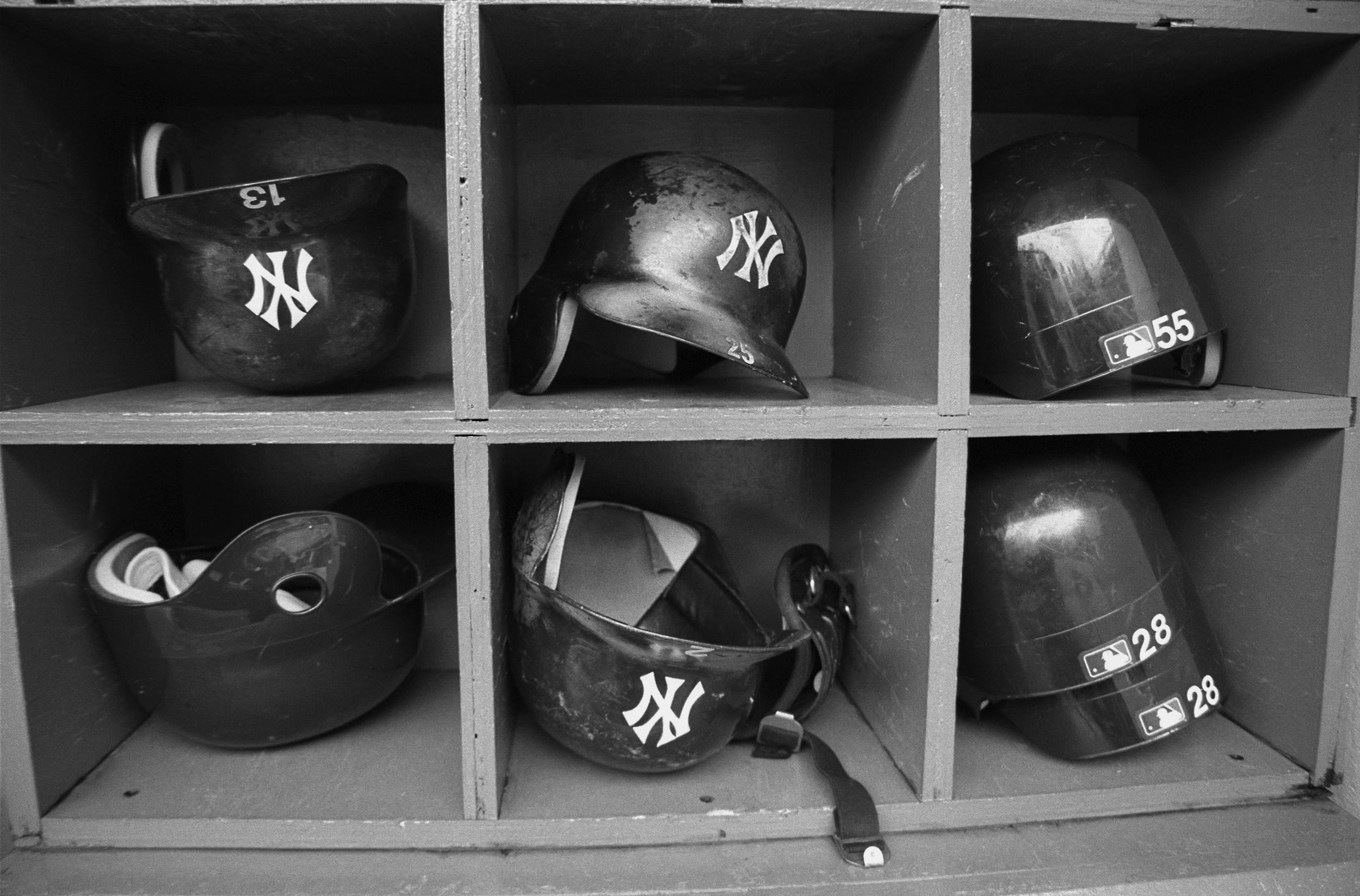 Yankee Helmuts in the dugout, Yankee Stadium