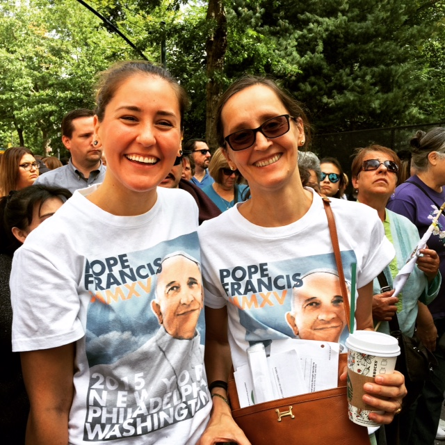 Mother and daugher on line into Central Park to see the Pope!