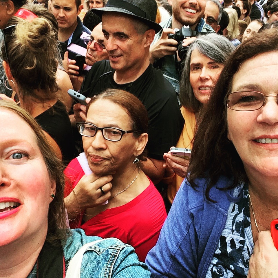 Alice and me with the many people waiting for a glimpse of Pope Francis