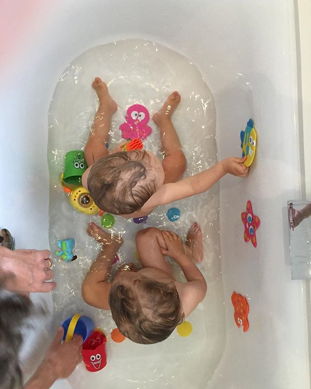 Bath time with Eddie and Louie