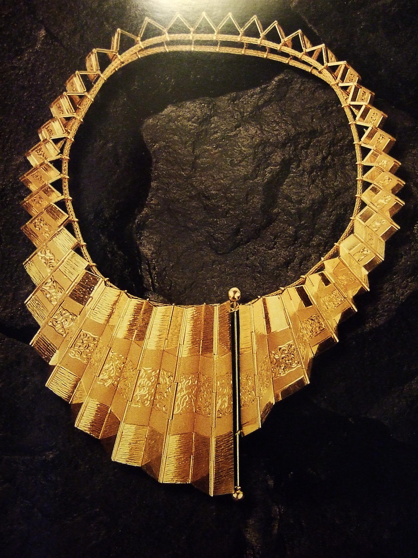 Reena Ahluwalia-Concertina Gold Necklace.JPG