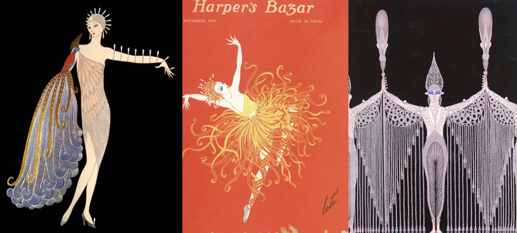 Images: Erté cover, Harper's Bazaar. 1920 & Erté illustrations