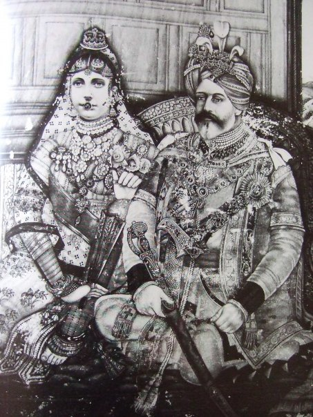 A cross cultural exchange. Miniature painting. National Gallery of Modern Art, New Delhi, India. 1902. Interpreted by an Indian artist (unknown), King Edward VII and Queen Alexandra, depicted as the King-Emperor and Queen-Empress of India.