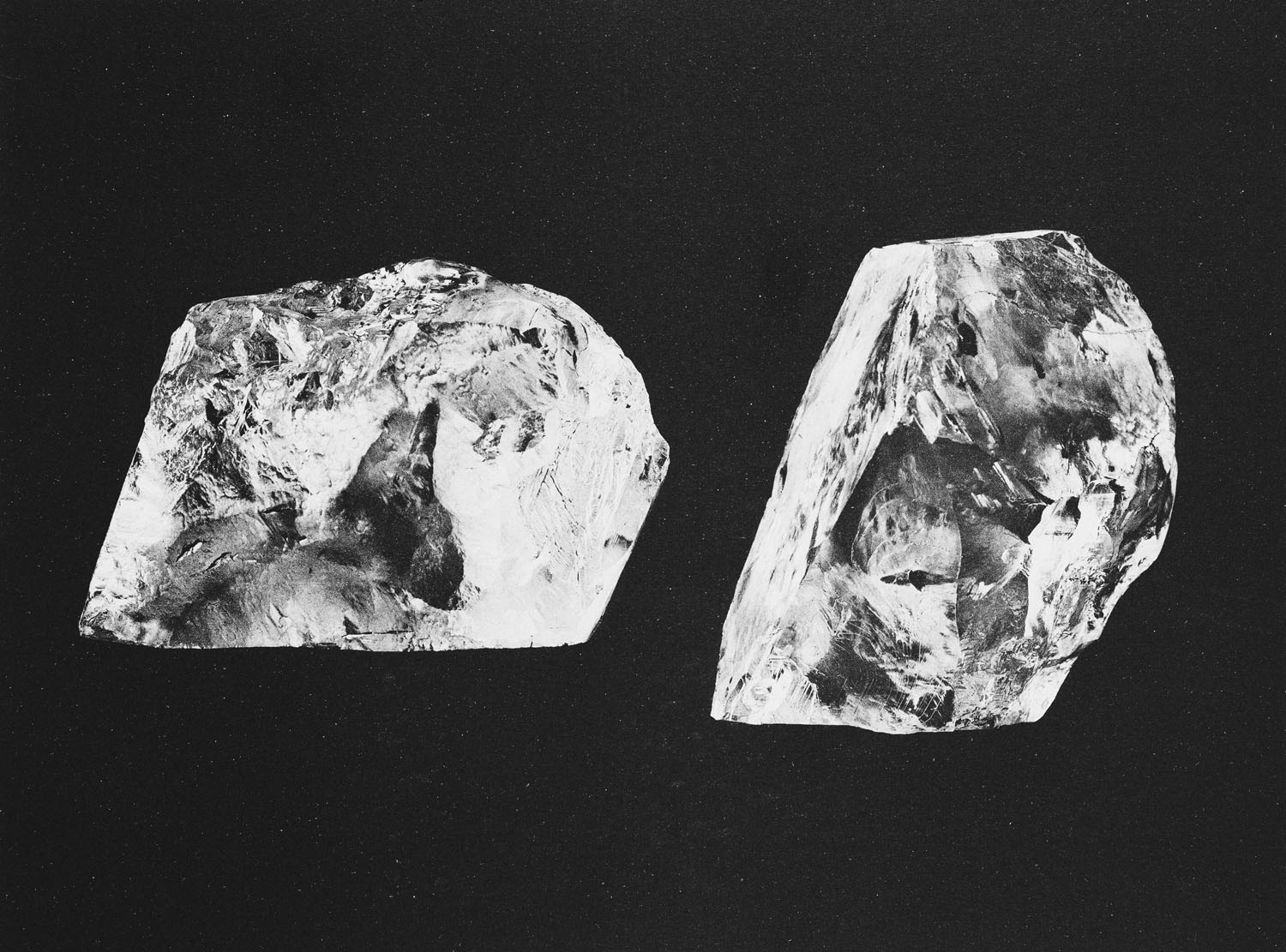 Cullinan Diamond. Photograph showing two models (replicas) of the original stone. The Cullinan Diamond was discovered in South Africa in 1905 and presented to King Edward VII in 1907. It was sent to Asschers (presently, Royal Asscher Diamond Company) of Amsterdam to be cleft in 1908. Image: Royal Collection © Her Majesty Queen Elizabeth II
