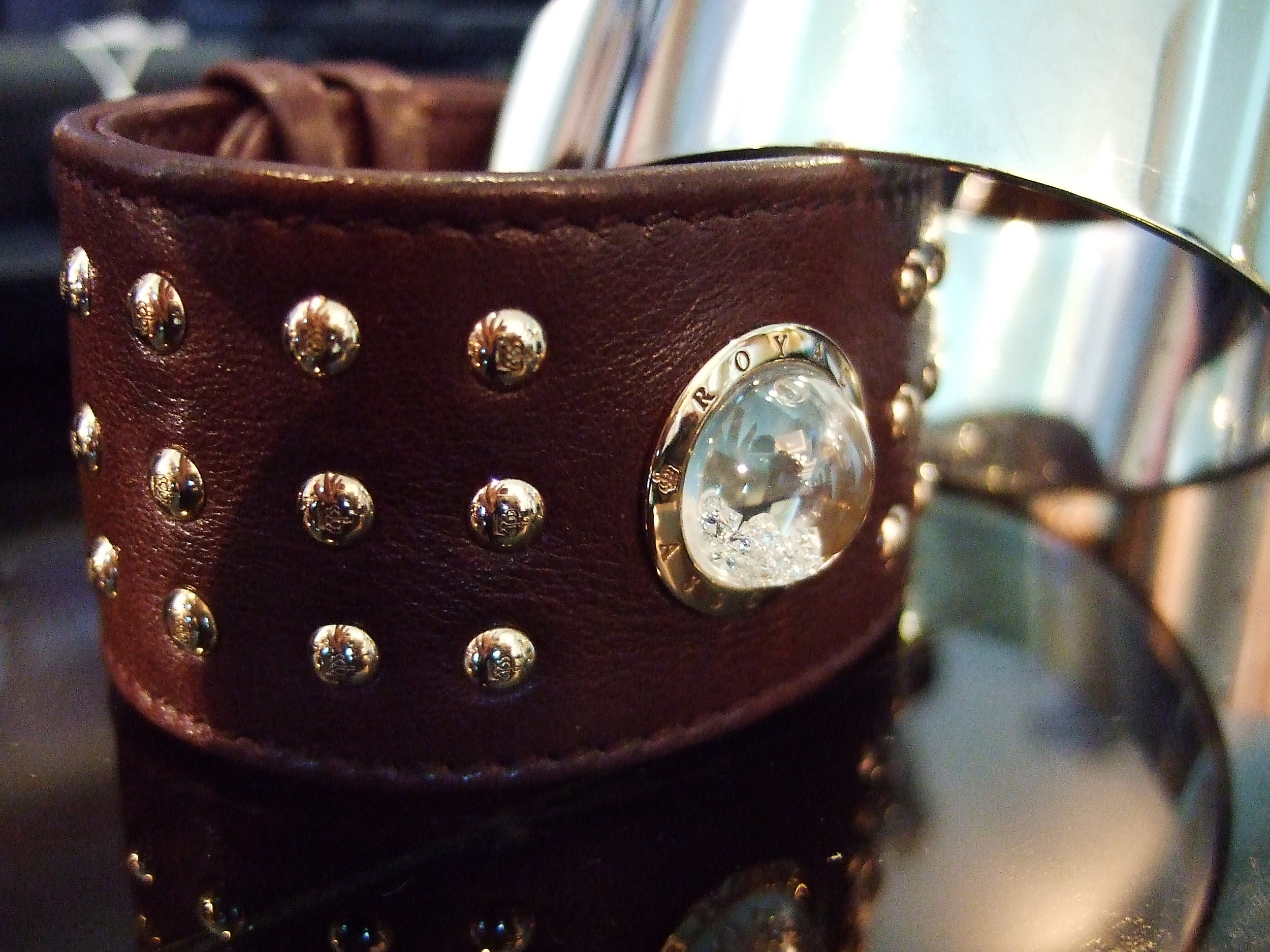 Ultra chic leather and floating-diamonds cuff, a latest from our Shining Stars collection.