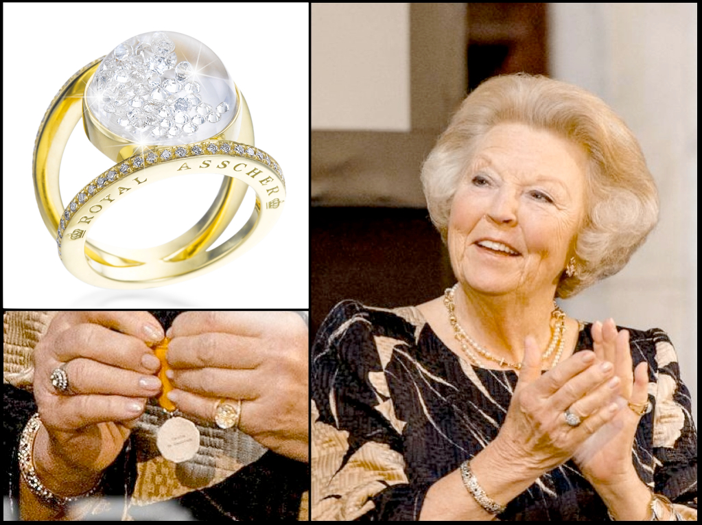 "HRH Princess Beatrix spotted wearing her very own floating-diamonds ""Stars"" ring by Royal Asscher ! At the Silver Carnation Culture Awards at The Royal Palace on June 18, 2013 in Amsterdam, Netherlands."