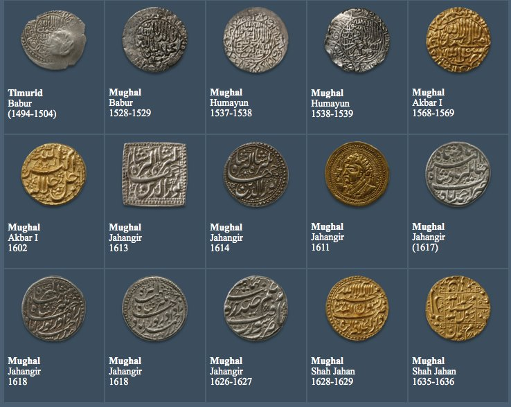 Rare image of Mughal Coins. Mughal emperors. Photo: The David Collection