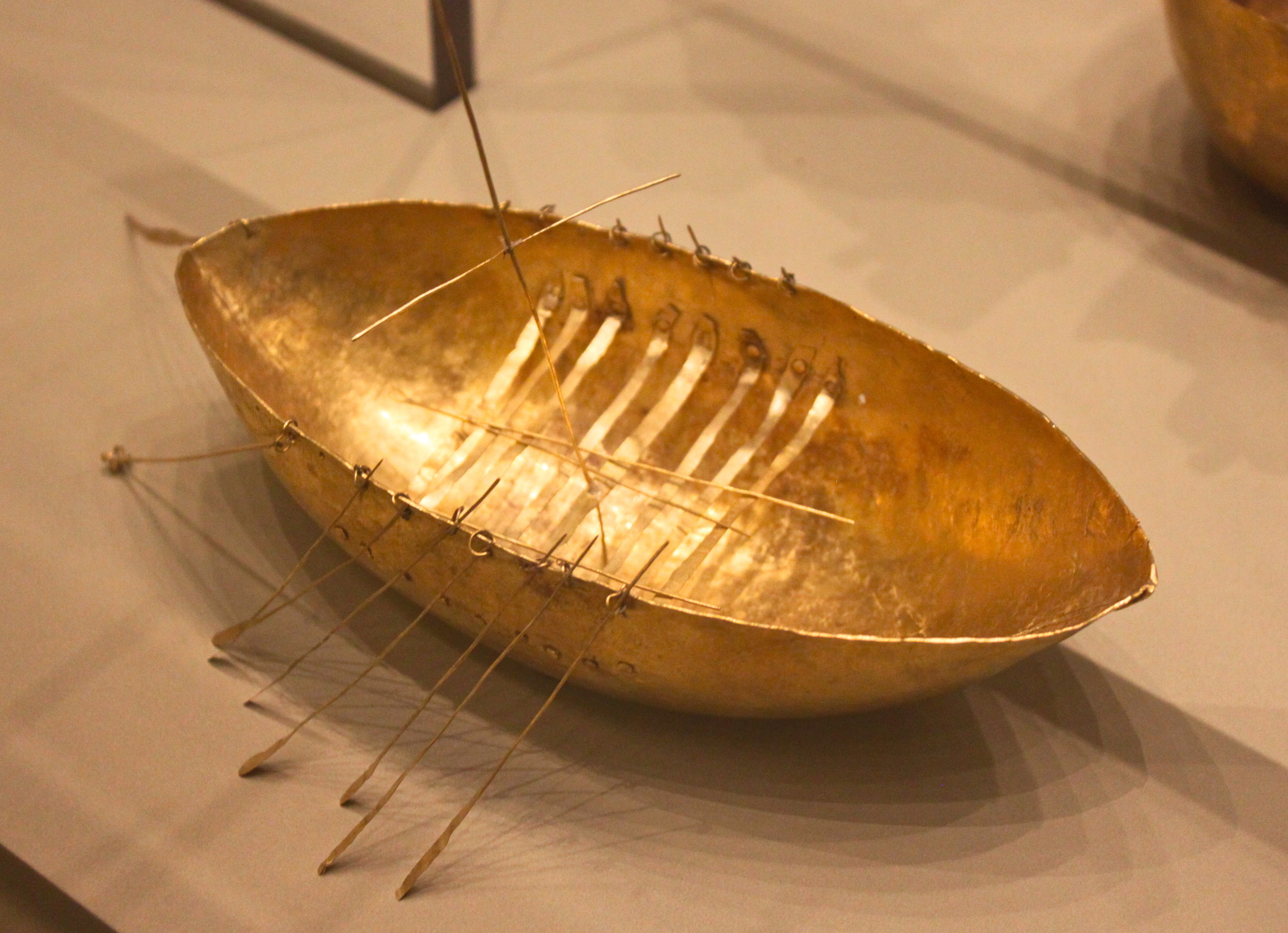 Miniature Gold Boat, as an offering to sea god. From the hoard of gold objects. Broighter, county Derry. 1st century BC.