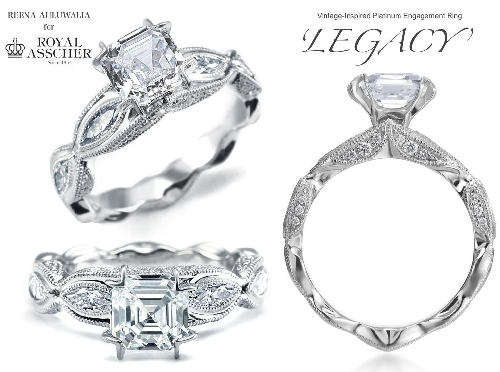 Legacy engagement ring by Reena Ahluwalia for Royal Asscher Diamonds. Platinum. Royal Asscher cut, marquise cut and round diamonds.