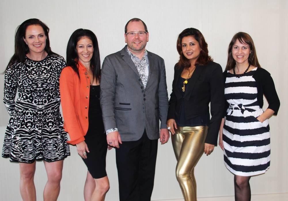 From left to right: Linda Penwarden of Penwarden Fine Jewellery, Luxury Retail Executive Andrea Hopson, Paul Mcfarlane of Chanel Canada, award winning jewellery designer Reena Ahluwalia, and jewellery designer Lisanne Skeoch.