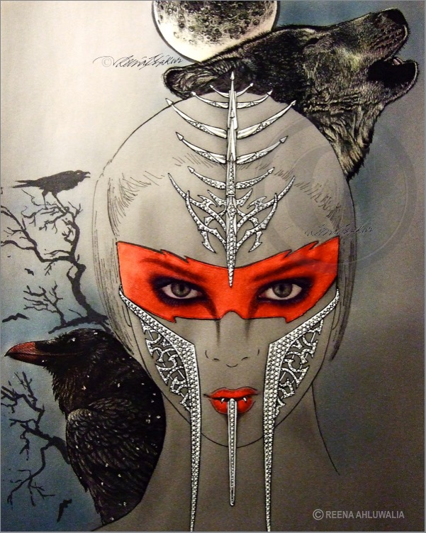 """Sorceress Diabolic"" - a contemporary face-mask, designed to exaggerate and intensify the dark Sorceress's legend. Concept drawing by Reena Ahluwalia."