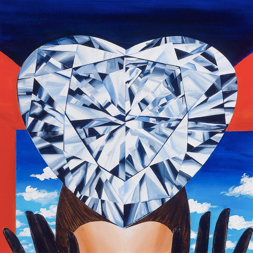 "Detail. Close up of the heart-shaped diamond.    The Portal of Quest 30""x40"". Acrylic on Canvas. 2015. ©Reena Ahluwalia"