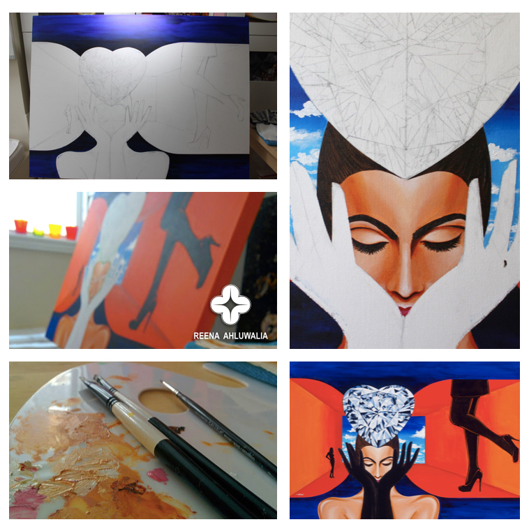 The Making Process. The Portal of Quest diamond painting at different stages. ©Reena Ahluwalia