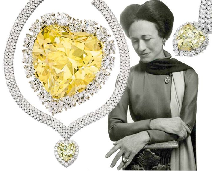 'The Windsor Heart' Yellow Diamond. 47.14cts yellow diamond was bought by the Duke of Windsor for the Duchess (Wallis Simpson) in 1951 from Harry Winston to complement her other yellow diamond and set in a ring. The stone was later acquired by Estée Lauder, set in a pendant and sold by the Lauder family in 2012 in aid of Breast Cancer Research Foundation. Image: Sotheby's
