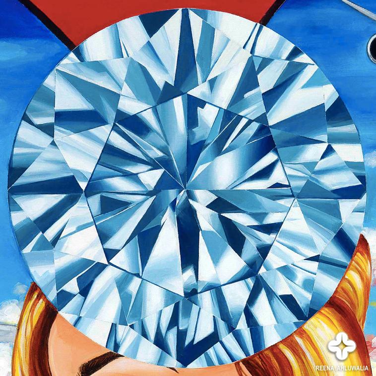 "Detail: A blue diamond symbolizes a guiding star, a beacon of light that illuminates the path of journeys. [The Portal of Journeys. 30""x30"". Acrylic on Canvas. ©Reena Ahluwalia]"