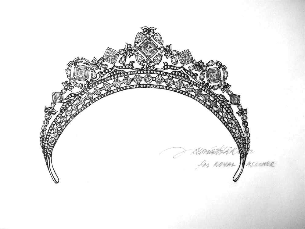 Original hand-drawn blueprint of tiara by ©Reena Ahluwalia for Royal Asscher Diamonds