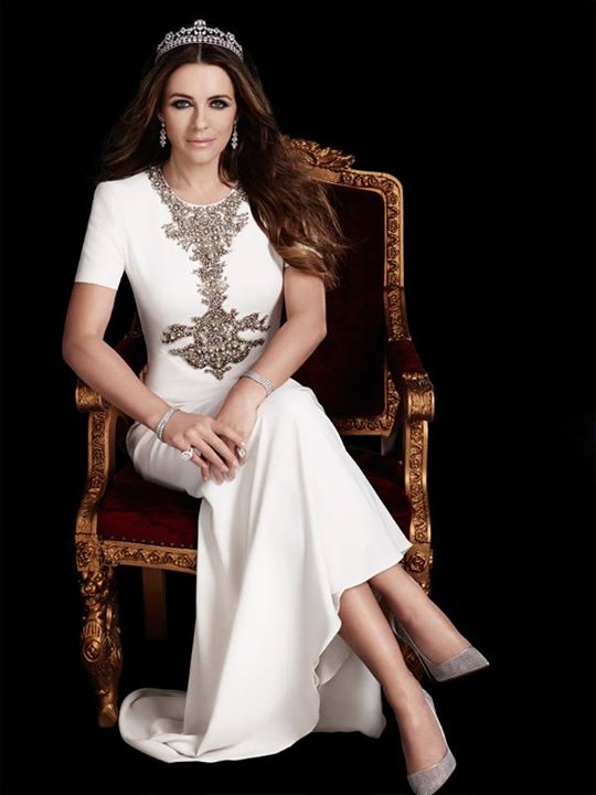 Elizabeth Hurley looks ravishing wearing the stunning tiara designed by jewelry designer Reena Ahluwalia for Royal Asscher Diamonds. Season 2,The Royals on E. Image : ©2015 Gavin Bond Photography