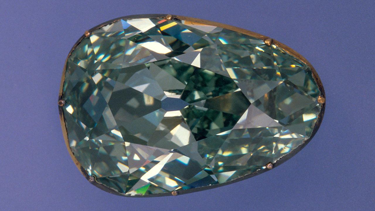 Legendary 'Dresden Green', a modified pear-shaped bluish apple-green diamond of 41.10 carats.