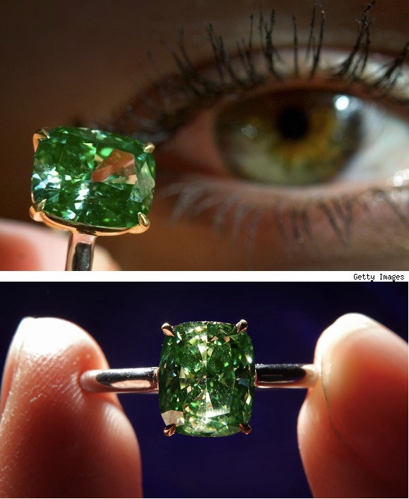 Claw-set with a cushion modified brilliant-cut fancy vivid green diamond weighing 2.52 carats, to a plain platinum and yellow gold mount. This rare diamond appeared at Sotheby's 2009 Magnificent Jewels action. Image: Getty & Sotheby's
