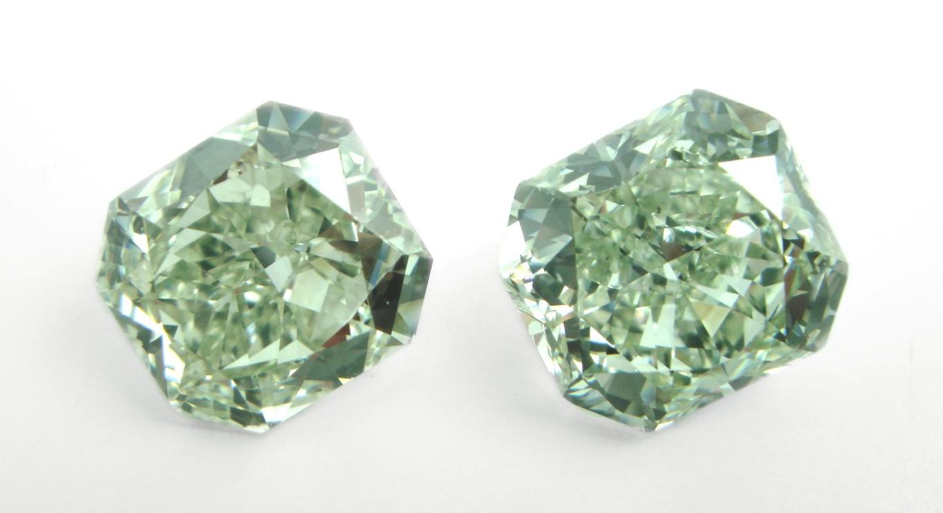 Pair of Radiants, fancy green diamonds. Image: Unknown