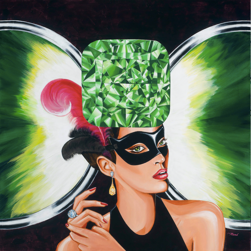 """Here's my tribute to green diamonds. """"   The Portal of Mystery""""    diamond painting features a cushion cut green diamond. Size 30x30 inches. More about    Reena Ahluwalia Diamond Paintings   ."""
