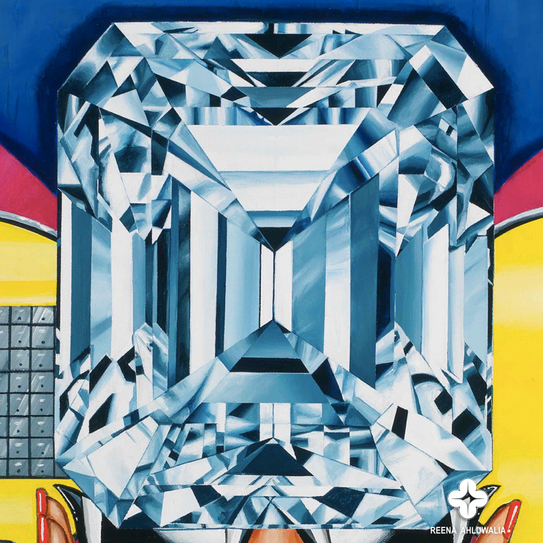 Detail. A closer look at the emerald cut diamond. The Portal of Temptations. 30 x 40 inches. Acrylic on Canvas. ©Reena Ahluwalia