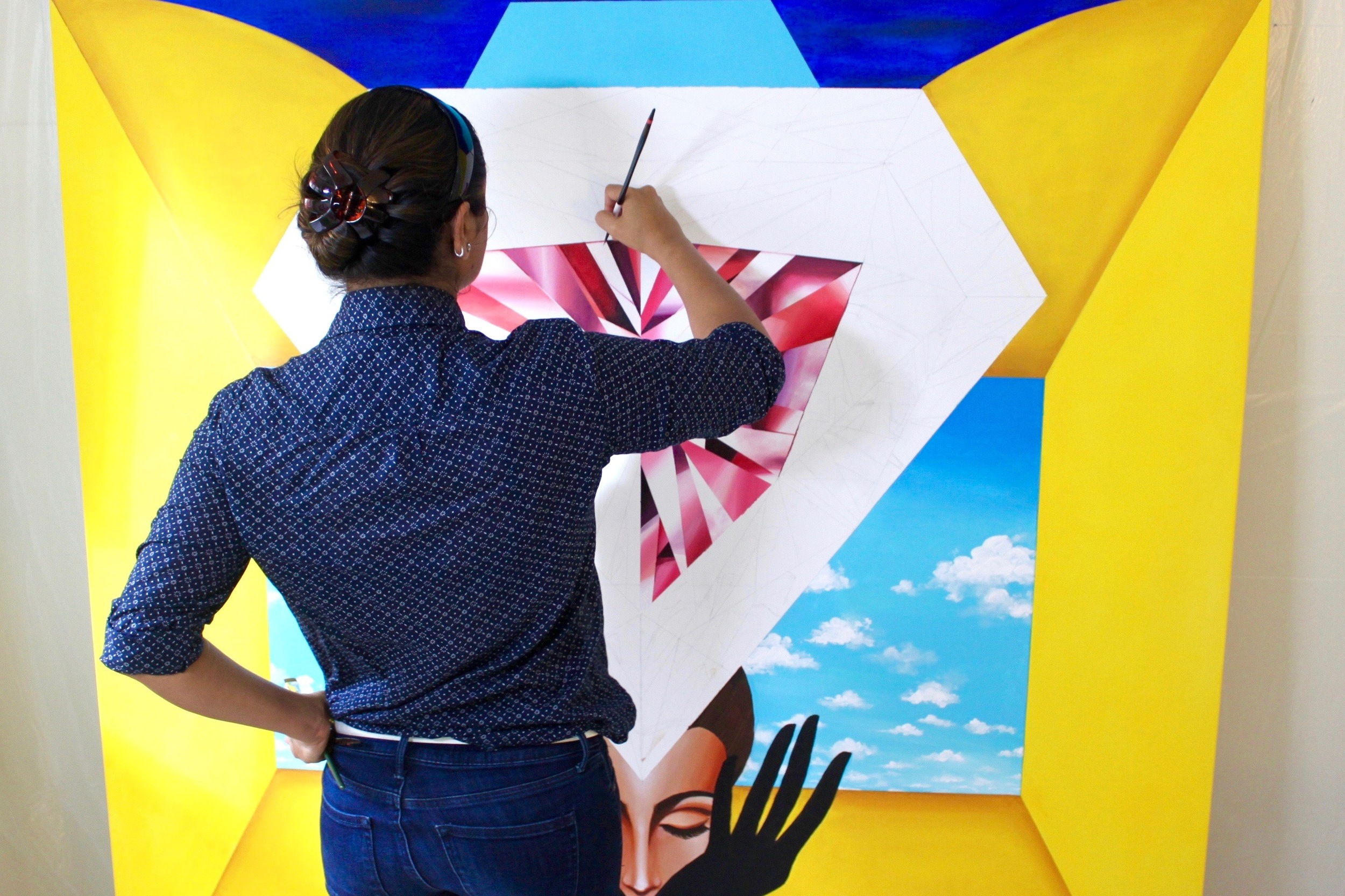 Reena Ahluwalia_making of Portal of Empowerment_Diamond painting2