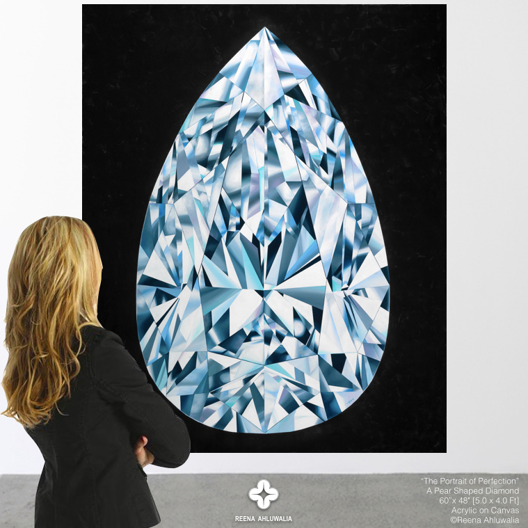 """Painting in a gallery. """"The Portrait of Perfection"""" - Portrait of a Pear Shaped Diamond 60""""x 48"""" [5.0 x 4.0 Ft]. Acrylic on Canvas. ©Reena Ahluwalia"""