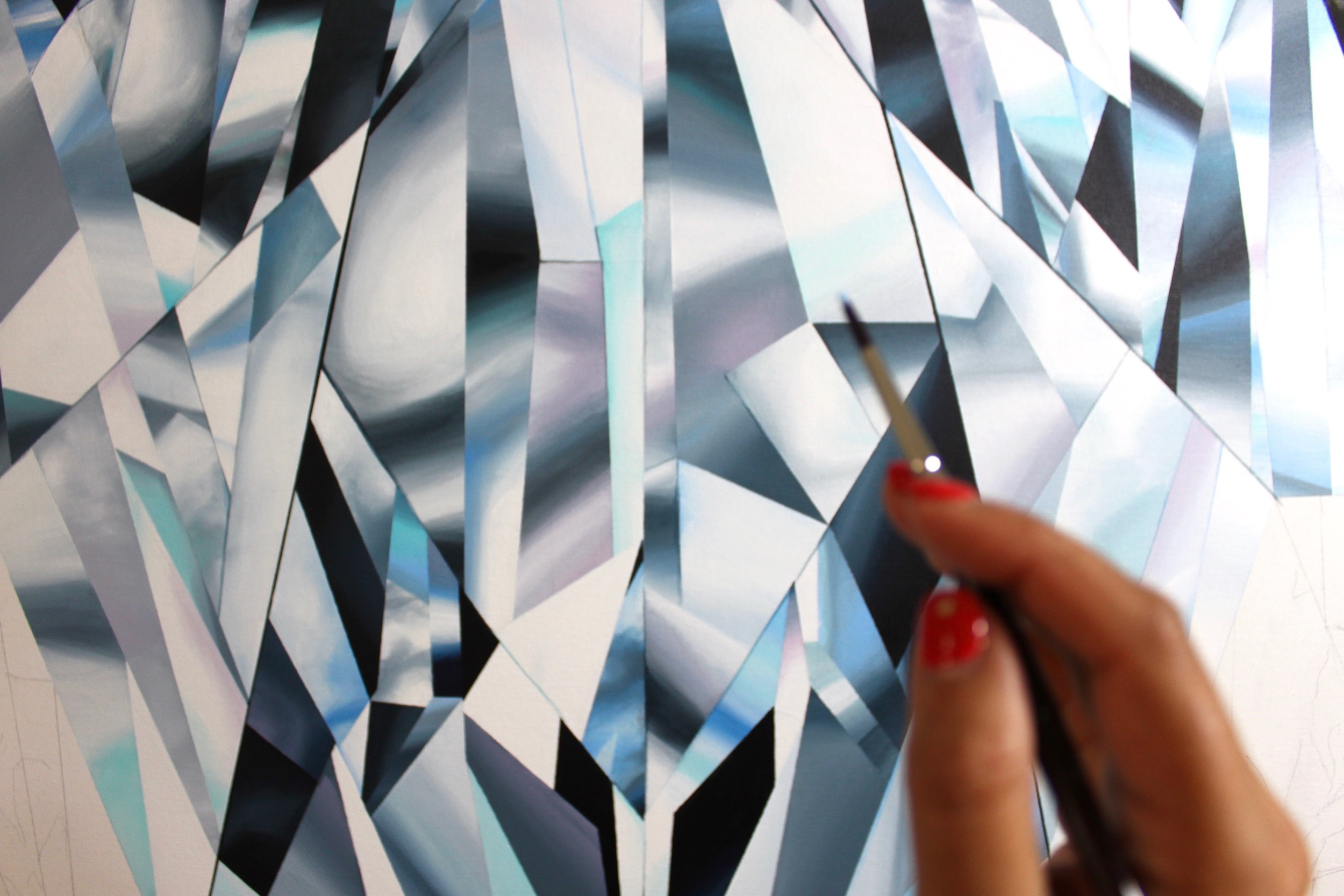 """Detail. Reena Ahluwalia during the making of the """"The Portrait of Perfection"""" - Portrait of a Pear Shaped Diamond. 60""""x 48"""" [5.0 x 4.0 Ft]. Acrylic on Canvas. ©Reena Ahluwalia"""