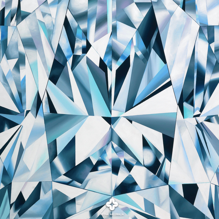"""Close up detail. """"The Portrait of Perfection"""" - Portrait of a Pear Shaped Diamond 60""""x 48"""" [5.0 x 4.0 Ft]. Acrylic on Canvas. ©Reena Ahluwalia"""