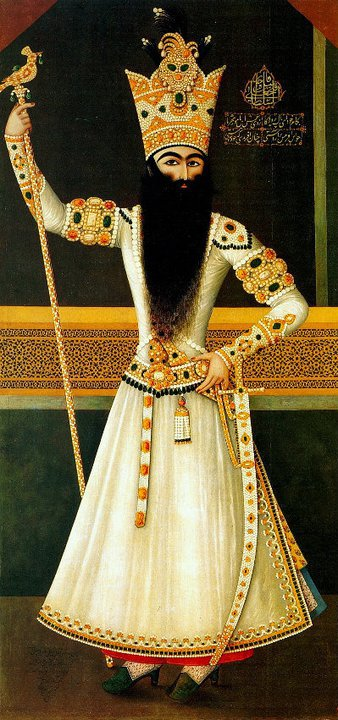 Fatḥ-ʿAlī Shah Qajar and his innumerable pearls. He commissioned great numbers of life size portraits of himself and his sons, which were placed in the interiors of his palaces and hunting lodges. These paintings formed the backdrop to elaborate court ceremonies.