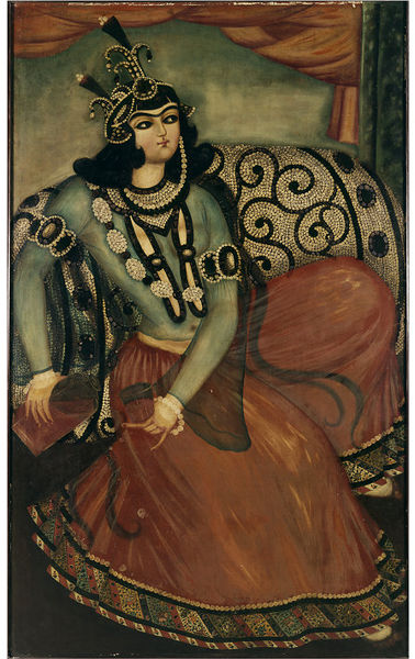 "Seated Woman Pouring Wine. Oil painting, 1800-1830. This painting is part of a group purchased by the Victoria and Albert Museum in 1876. At the time, it was described as being, ""From the Shah's palace at Tehran."""