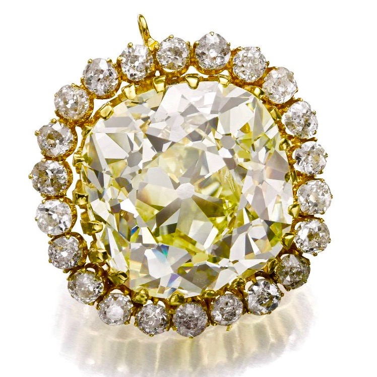 74.53 carat cushion cut fancy yellow diamond, set in a jewel from the late 19th century. A Qajar Dynasty diamond and jewel. Image: Sotheby's