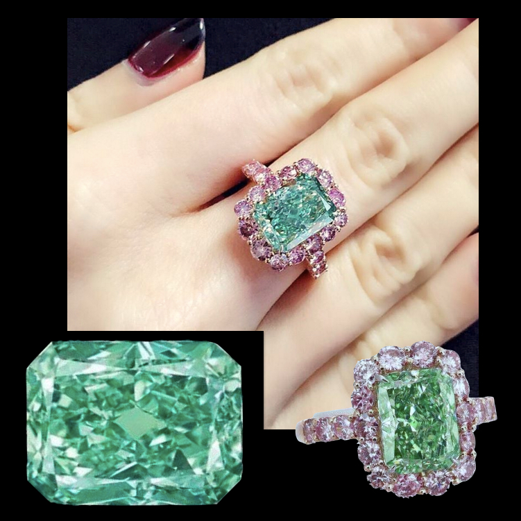 'Aurora Green' is a 5.03 carat Fancy Vivid Green diamond, one of the rarest colour grading for a diamond and the largest of its kind ever to be offered at auction. Christie's auction, Hong Kong on May 31, 2016. Image: Christie's