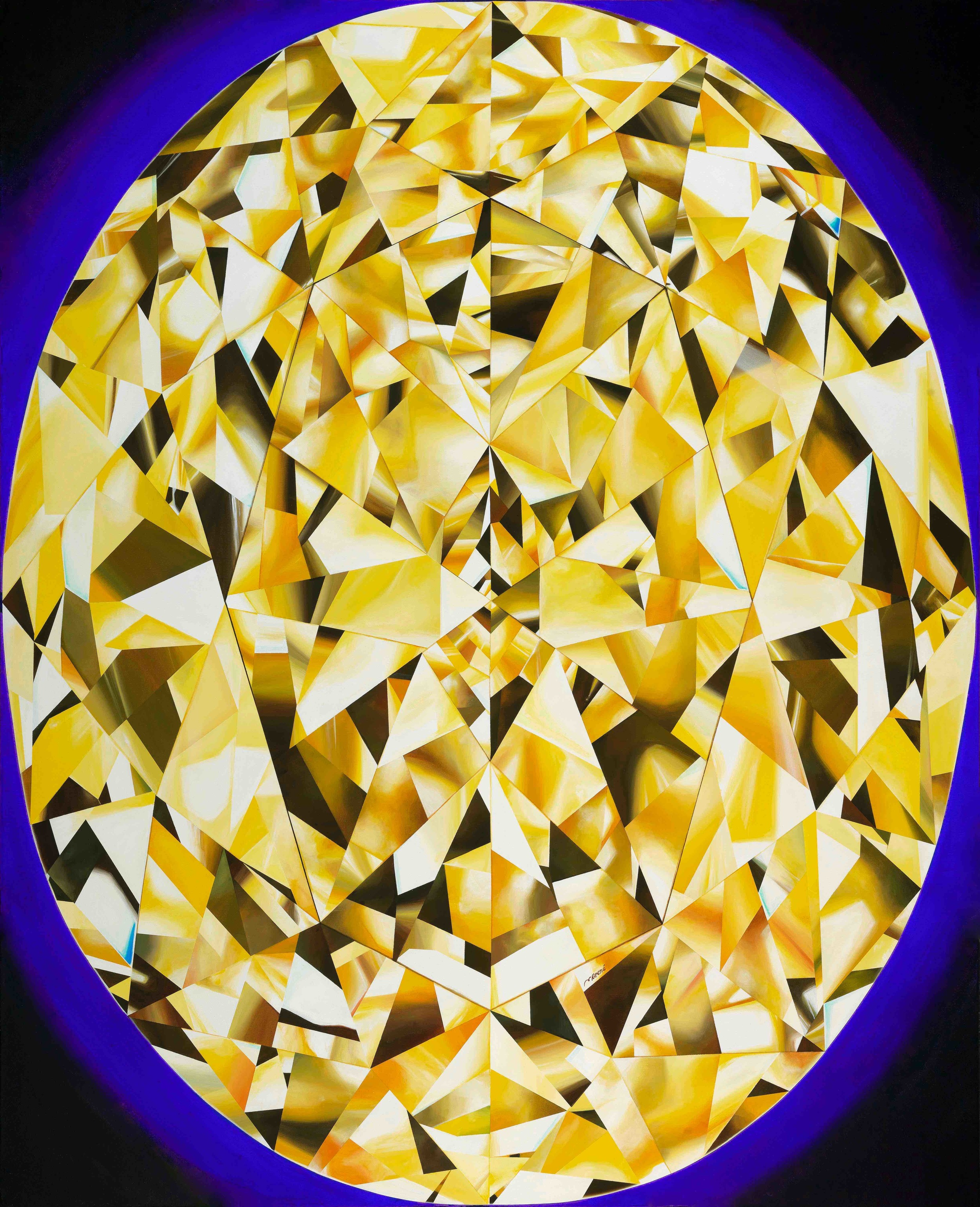 'The Portrait of Luminosity' - Portrait of an Oval Cut Yellow Diamond 60 x 48 inches. Acrylic on Canvas. ©Reena Ahluwalia
