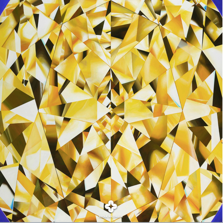 Details create the big picture! Close up detail. 'The Portrait of Luminosity' - Portrait of an Oval Cut Yellow Diamond. 60 x 48 inches. Acrylic on Canvas. ©Reena Ahluwalia