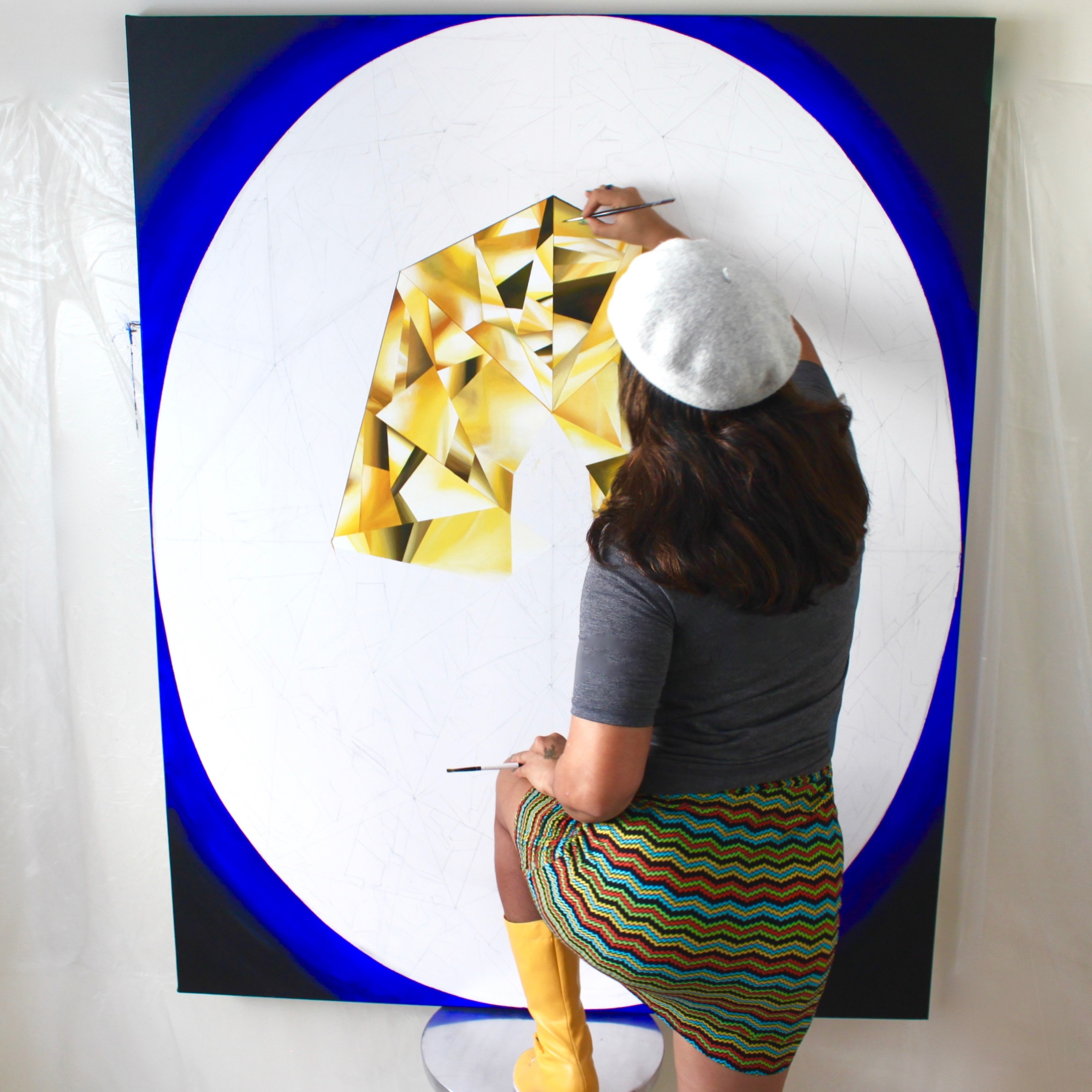 Had to pull out my yellow boots for this! Making of 'The Portrait of Luminosity' - Portrait of an Oval Cut Yellow Diamond. 60 x 48 inches. Acrylic on Canvas. ©Reena Ahluwalia
