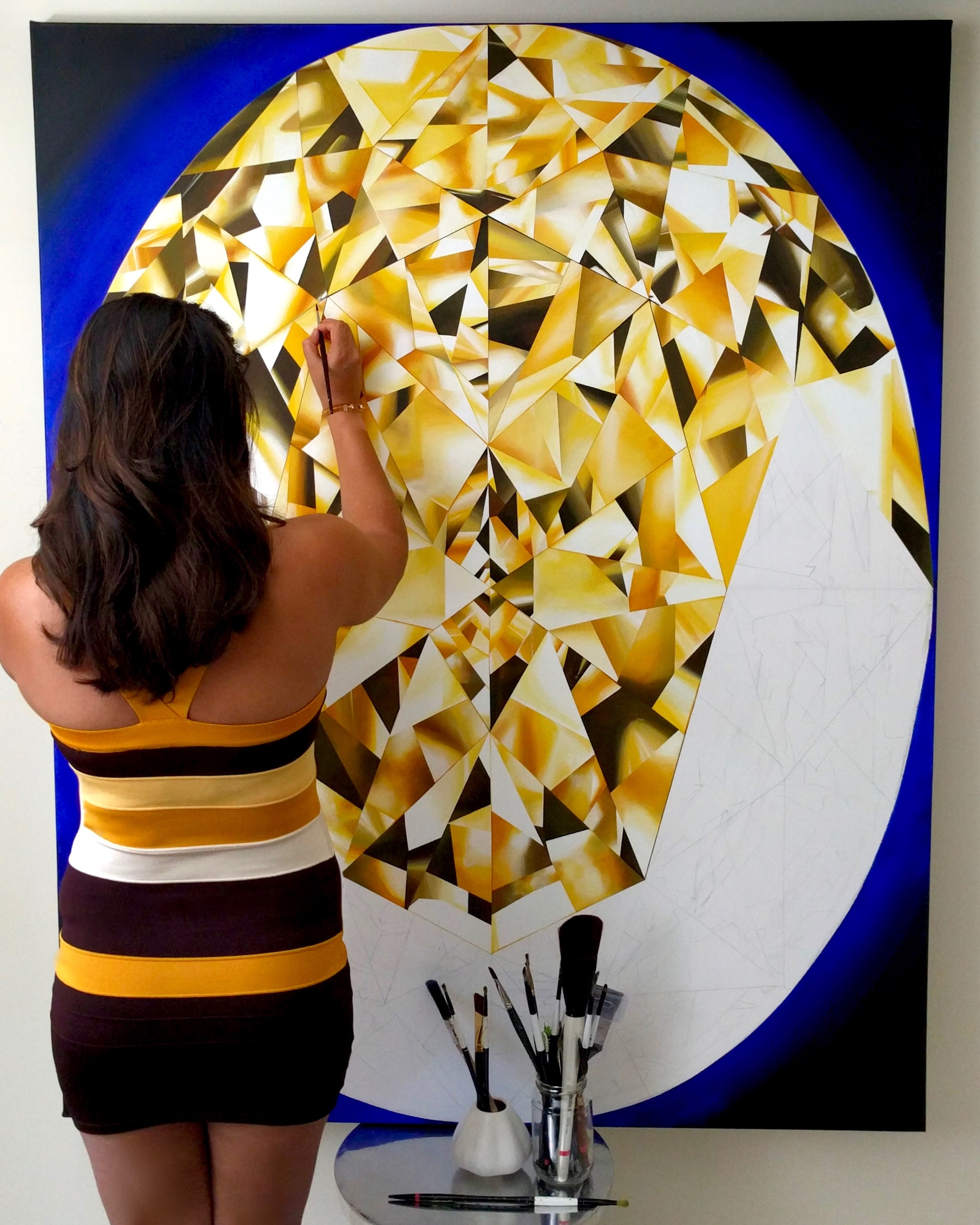 Taking my time basking in pure sunshine! This piece is detailed and had my complete love and attention. Made me so happy! Making of 'The Portrait of Luminosity' - Portrait of an Oval Cut Yellow Diamond. 60 x 48 inches. Acrylic on Canvas. ©Reena Ahluwalia