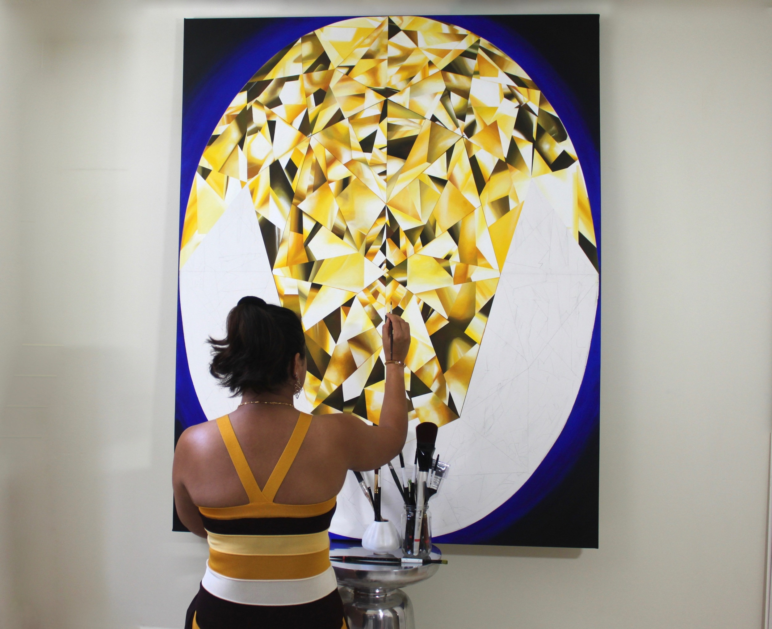 Making of 'The Portrait of Luminosity' - Portrait of an Oval Cut Yellow Diamond. 60 x 48 inches. Acrylic on Canvas. ©Reena Ahluwalia