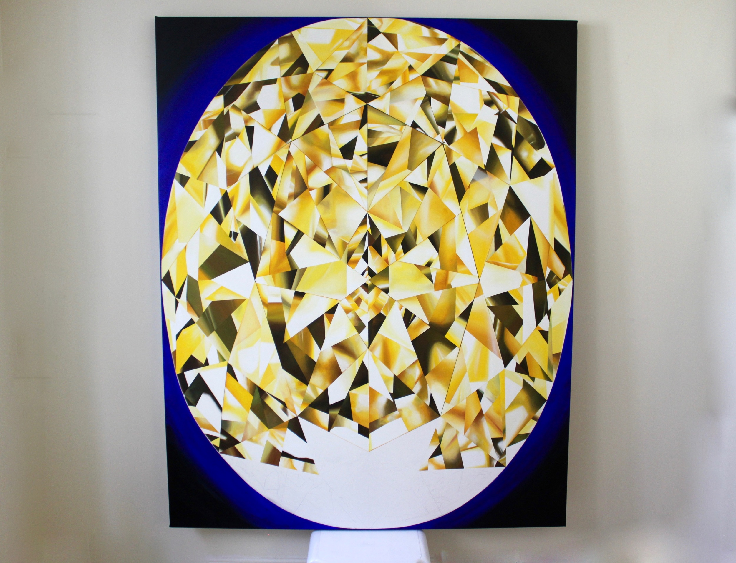Towards completion! I felt a deep inner joy as I painted this over a few months period and I hope you feel the same as you view it. Making of 'The Portrait of Luminosity' - Portrait of an Oval Cut Yellow Diamond. 60 x 48 inches. Acrylic on Canvas. ©Reena Ahluwalia