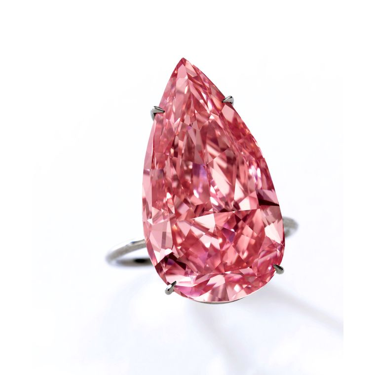 Unique Pink, a 15.38 ct. fancy vivid pink diamond, the largest fancy vivid pink pear-shaped diamond ever offered at auction. Image: Sotheby's 2016