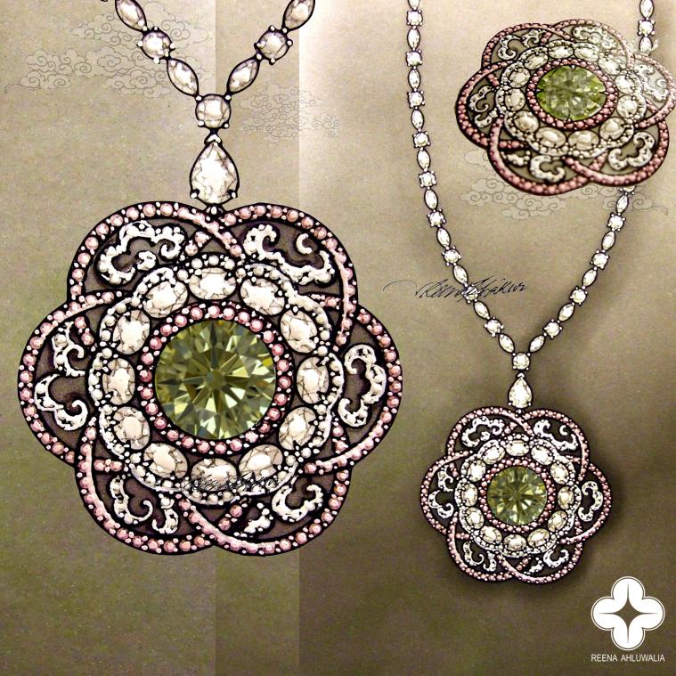Reena Ahluwalia_Green Diamond Necklace Rendering copyright image.jpg