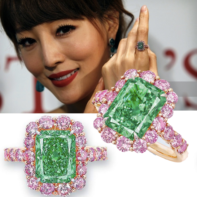 Sold for $17 million! Christie's sold the 'Aurora Green' diamond to Chow Tai Fook for $16.8 million (HKD 130 million) at its Hong Kong auction May 2016, achieving $3.3 million per carat.